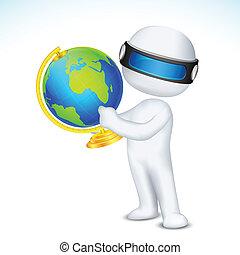 het tonen, 3d, globe, man