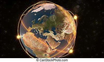 het tonen, animatie, aarde