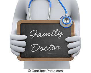 het tonen, arts, 3d, gezin, chalkboard