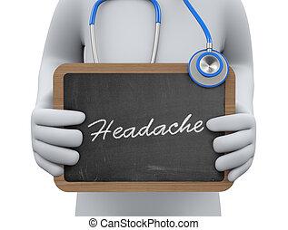 het tonen, arts, hoofdpijn, 3d, chalkboard