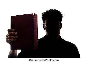 het tonen, boek, silhouette, de mens van het cijfer