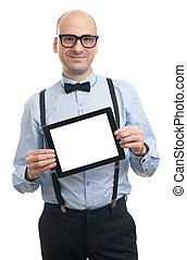 het tonen, digitale , tablent, blank lichten door, man