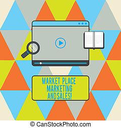 het tonen, downloaden, shoppen , tablet, glas, foto, marketing, moderne, space., kopen, meldingsbord, sales., speler, starten, video, online, tekst, conceptueel, plek, vergroten, markt