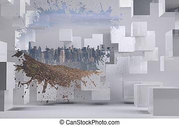 het tonen, gespetter, cityscape