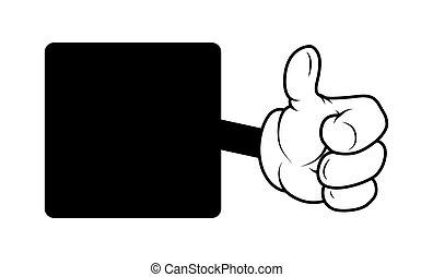het tonen, hand omhoog, spotprent, duimen