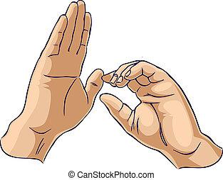 het tonen, handen, het trekken, gebaar, een