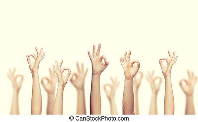 het tonen, handen, ok, menselijk, meldingsbord