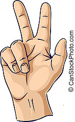 het tonen, handen, vinger, gebaar, twee