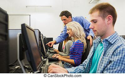het tonen, kamer, scherm, computer, iets, student, leraar