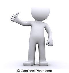 het tonen, karakter, op, duimen, man, 3d