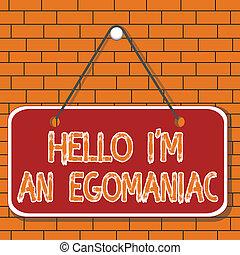 het tonen, memorandum, herinnering, hallo, conceptuele achtergrond, meldingsbord, lege, egoanalysisiac., narcissist, foto, rectangle., ego, egocentrisch, selfcentered, leeg, plank, tekst, zelfzuchtig, hechten, ruimte, gekleurde