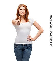 het tonen, op, t-shirt, duimen, witte , tiener