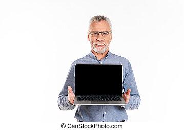 het tonen, oud, scherm, vrijstaand, leeg, het glimlachen, draagbare computer, man
