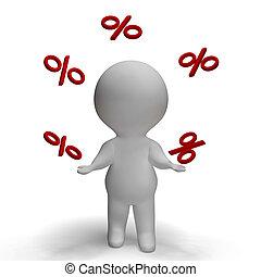 het tonen, percententeken, juggling, beklimming, percentage...