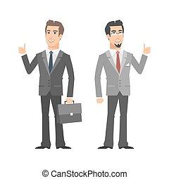 het tonen, twee, op, duimen, zakenman, het glimlachen
