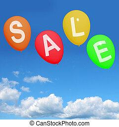 het tonen, verkoop, korting, reductie, bevordering, ballons