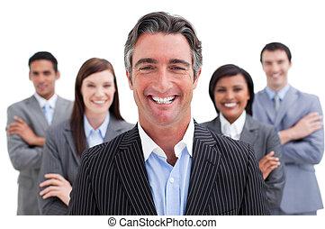 het tonen, verscheidenheid, het glimlachen, handel team