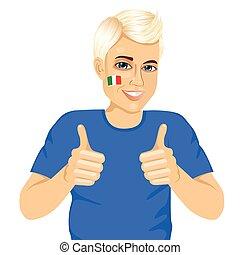 het tonen, voetbal, op, meldingsbord, ventilator, duimen, italiaanse