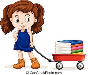 het trekken, meisje, boekjes , weinig; niet zo(veel), kar, volle