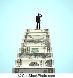 het turen, geld, zakenman, bovenzijde, trap