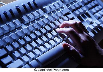 het typen, op, toetsenbord
