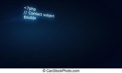 het typen, php, code, op, scherm