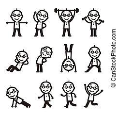het uitoefenen, man, gezondheid, senior, fitness