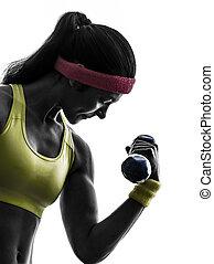 het uitoefenen, silhouette, workout, gewicht training, vrouw...
