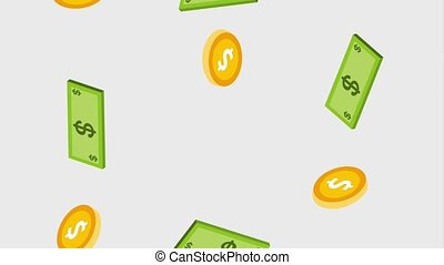 het vallen, bankbiljet, en, muntjes, valuta, dollar