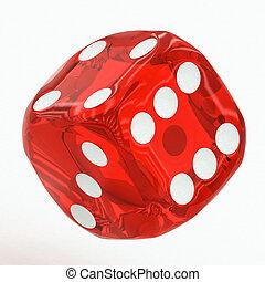 het vallen, dobbelsteen, rood, een