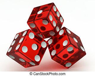 het vallen, drie, rood, dobbelstenen