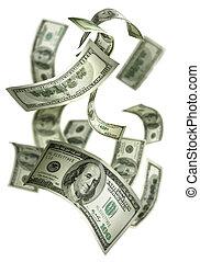 het vallen geld, $100, rekeningen