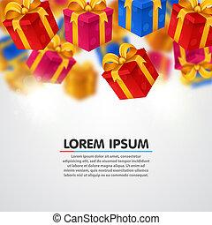het vallen, geschenken., licht, achtergrond, met, kado, boxes.
