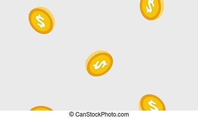 het vallen, gouden muntstukken, dollar, geld
