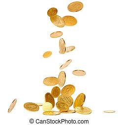 het vallen, gouden muntstukken