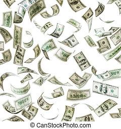 het vallen, honderd dollars, geld, rekeningen