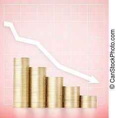 het vallen, incomes., spaarduiten, en, voorzichtig, bestedend geld, concept