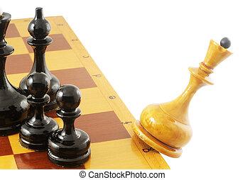 het vallen, koningin, schaakspel