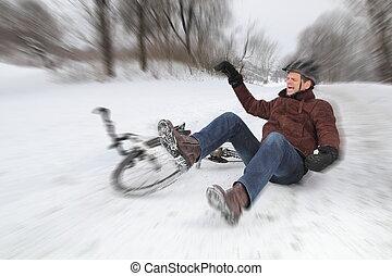 het vallen, ongeluk, fiets, winter, man