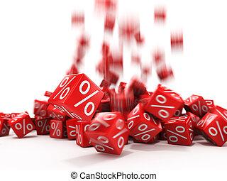 het vallen, rood, blokje, met, procent, in de focus