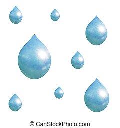 het vallen, vector, droplets., regen, model