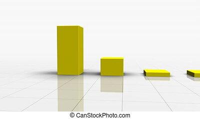het vallen, versperren grafiek, in, gele