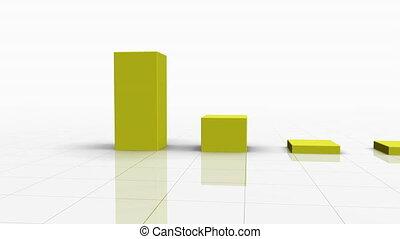het vallen, versperren grafiek, in, gele, w, richtingwijzer