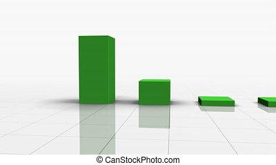 het vallen, versperren grafiek, in, groene