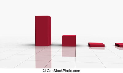 het vallen, versperren grafiek, in, rode w, richtingwijzer