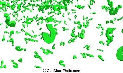 het vallen, vraagtekens, in, groene
