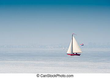 het varen van het ijs, in, de, nederland