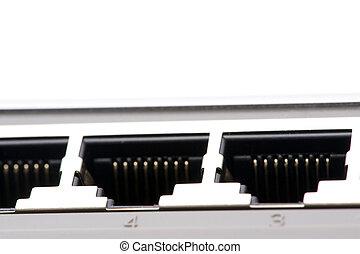 het verbinden, ethernet, switch, dichtbegroeid boven