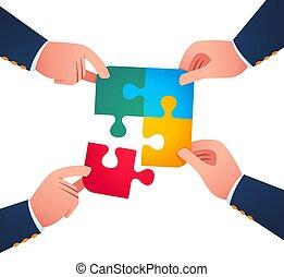 het verenigen zich, puzzelstuk, samen, werkende