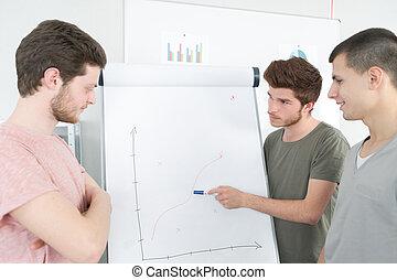 het verklaren, collega's, zijn, whiteboard, jonge, tabel, zakenman